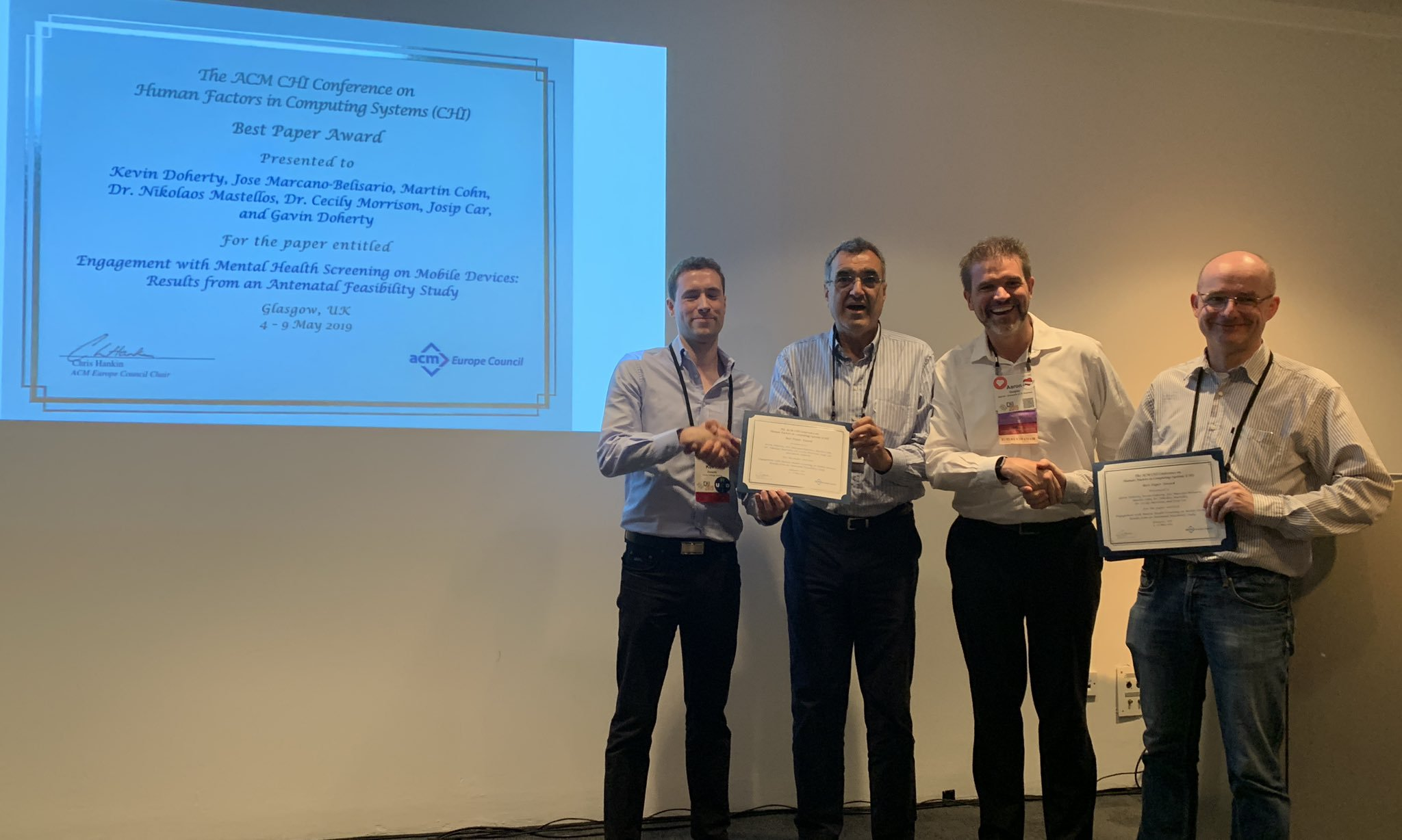 ACM Europe Council Award at CHI 2019